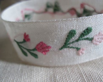 Pink Flowers on Natural linen ribbon