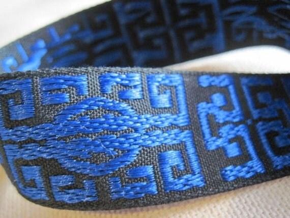 Zen jacquard woven ribbon in ROYAL blue and BLACK