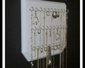 Necklace Holder Jewelry Organizer  Display Rack 9x12 White with 31 Coated Silver Jewelry Hooks