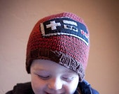 Yeah, I am a gamer.   Cotton hand knit beanie with Nintendo applique