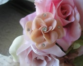 vintage assemblage flower old ooak collage ring.Cotton Candy Pink