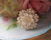 Snow White.vintage assemblage old ooak rhinestone celluloid  flower ring