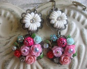 Stop to Smell the Flowers.vintage flower assemblage dangle earrings