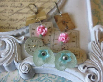 TIMEless flower vintage assemblage earrings.