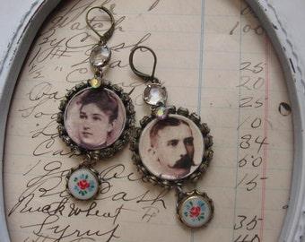Lillian and Herbert vintage assemblage earrings