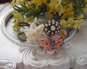 Fresh Flowers vintage assemblage bracelet