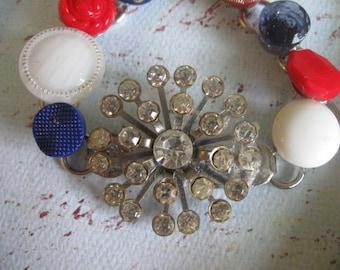 Yankee Doodle..vintage assemblage bracelet