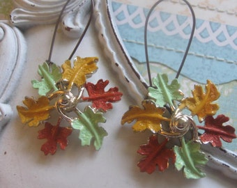 Fall.vintage assemblage old ooak dangle earrings