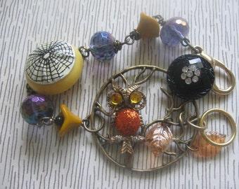 Halloween Tree.vintage old ooak assemblage beaded  bracelet