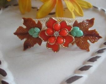 Maple Leaf.vintage assemblage old ooak barrette flower clip