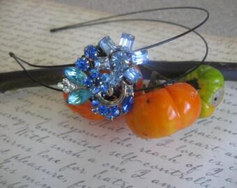 Sparkly Garden.vintage assemblage old ooak rhinestone headband