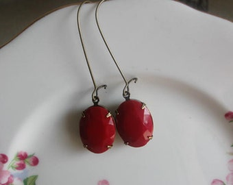 vintage assemblage glass opaque rhinestone dangle earrings. Red Lipstick