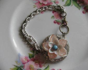 vintage assemblage old ooak flower bracelet. Rosalie