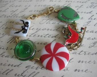 Tis The Season.vintage assemblage one of a kind bracelet