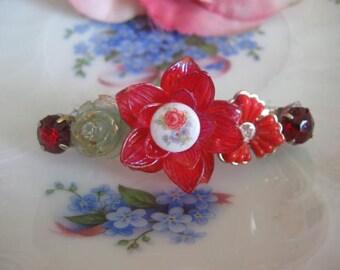 Truely Romantic.vintage flower jewelry assemblage barrette