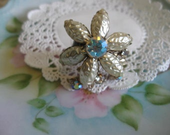 vintage flower old ooak flower and rhinestone collage ring. Art From the Past