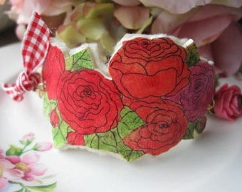 Blooming Roses.vintage rhinestone flower artistic rose bracelet cuff
