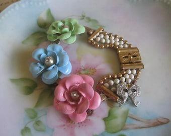 Spring and Summer.vintage flower jewelry assemblage bracelet