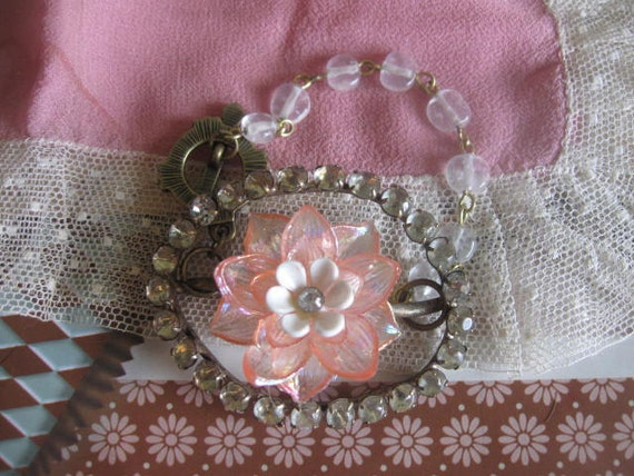 vintage assemblage old ooak flower and buckle bracelet. The Gilded Lily
