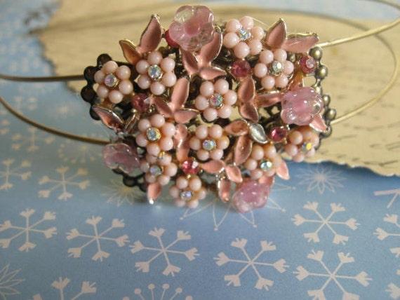 Pink Whispers.vintage assemblage statement headband