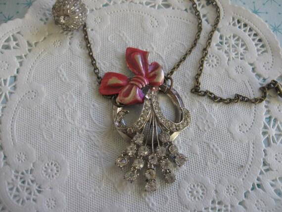 Mistletoe.vintage rhinestone assemblage old ooak necklace