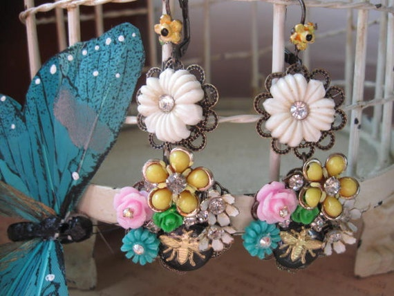 The bees are in the Flowers.vintage assemblage old ooak dangle earrings