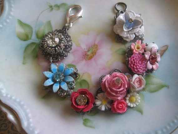 The Garden behind the Cottage.vintage flower and rhinestone jewelry assemblage bracelet