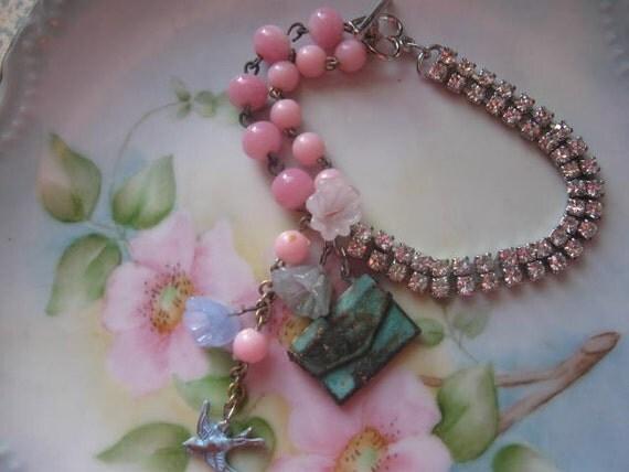 The LoVe LeTtEr.vintage assemblage old ooak bracelet