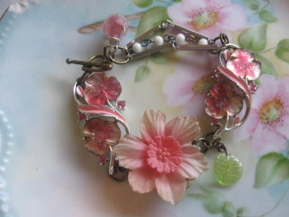 Passionate wrist corsage .vintage art glass and flower assemblage bracelet
