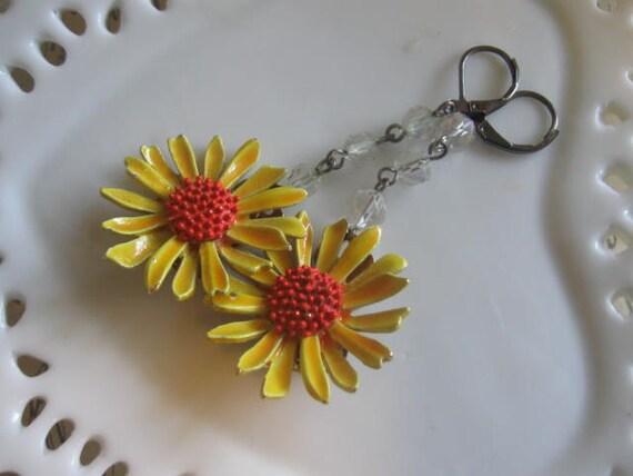 Flowers of Summer.vintage enamel  brass  vintage rosary beads flowers dangle earrings