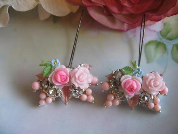 Bridal Bouquets .vintage assemblage old ooak flower earrings