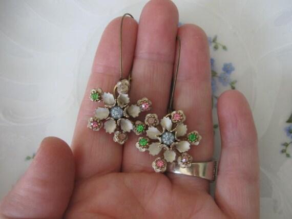 The Unique flowers.vintage assemblage flower  old ooak dangle earrings