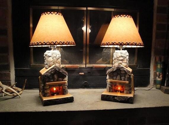 Adirondack Cabin Stone Fireplace Lamp