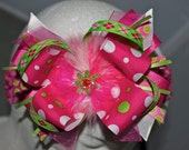 Spring Fun Hot Pink, White, Lime Green OVER the TOP FUNKY Boutique Hair Bow