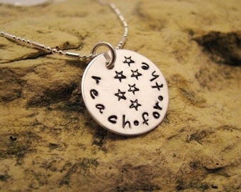Reach for the Stars - hand stamped charm