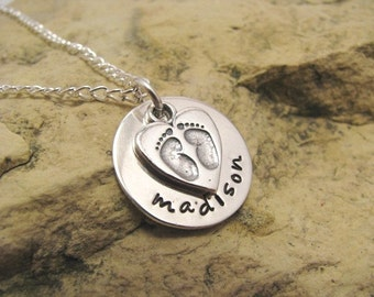 Tiny feet and your child's name - sterling silver charm