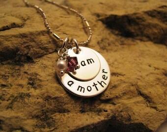 i am a mother - all silver charm with Swarovski birthstone crystals