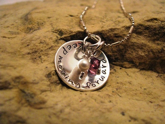 keep moving forward - domed silver charm