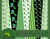 ST PATRICK'S DAY PaPERS 8 DiGITAL SCRAPBoOK  PAPeRS 3600 x 3600 300 dpi