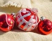 vintage shabby chic glass ornament-USA, West Germany & Poland-reds