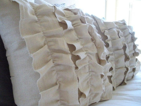 Canvas, Ruffled, Pillow Covers