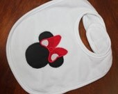 Minnie mouse machine appliqued bib for baby mine by BBBB Kids