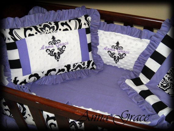 Custom Black And Purple Damask Baby Cradle By BittyBittyBumBum