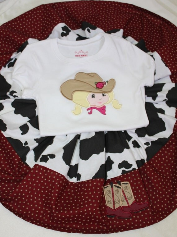 Western girls cowgirl full twirl skirt and machine appliqued shirt size 5 ready to ship