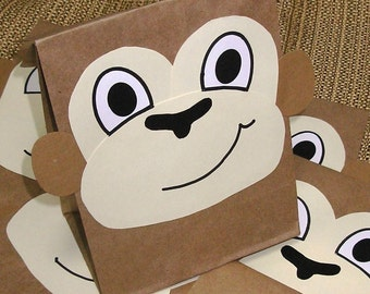 Monkey Treat Sacks - Jungle Zoo Safari Theme Birthday Party Favor Goody Bags by jettabees on Etsy