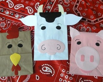Barnyard Farm Theme Treat Sacks Rooster Cow Pig Birthday Party Goody Bags by jettabees on Etsy
