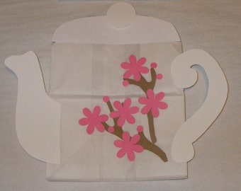 Asian Tea Theme Treat Sacks - Japanese Cherry Blossom Teapot Birthday Party Favor Goody Bags by jettabees on Etsy