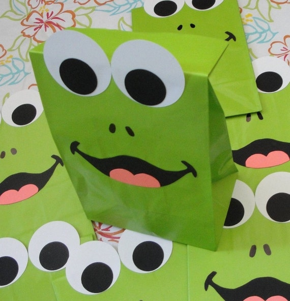 Frog Birthday Party Favor Treat Sacks Frogger Froggy Princess and Frog Prince Theme Goody Bags by jettabees on Etsy