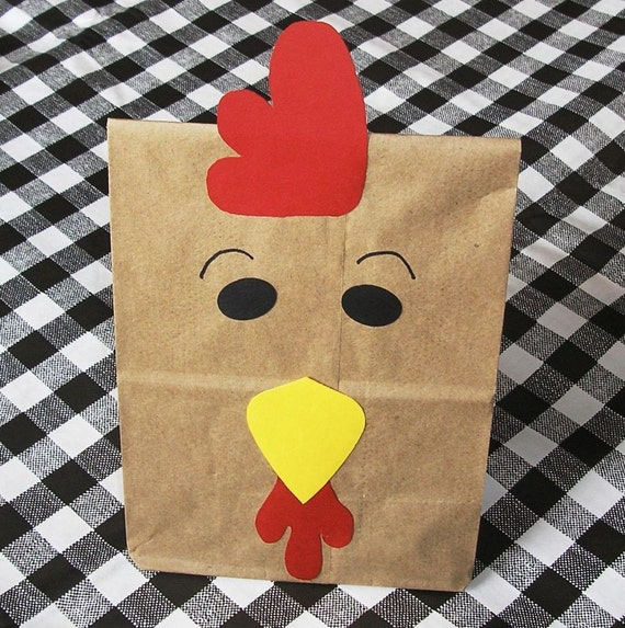 Rooster Treat Sacks - Farm Chicken Barnyard Country Theme Birthday Party Favor Goody Bags  by jettabees on Etsy