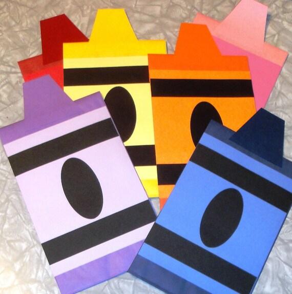 Crayon Treat Sacks Color Rainbow Art School Theme Birthday